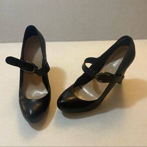 10 black platform Mary Jane heels buckle sexy